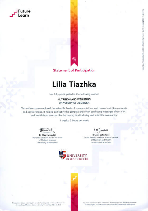 Statement of Participation Lilia Tiazhka NUTRITION AND WELLBEING UNIVERSITY OF ABERDEEN